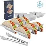 Taco Holder Stands, Set of 4 - Stainless Steel Taco Tray with Built-in