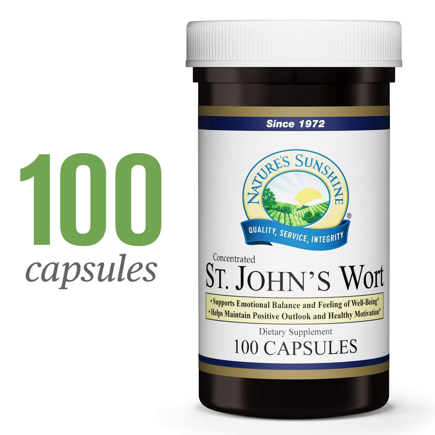 Nature s Sunshine St John s Wort Concentrate, 100 Capsules Support Mood and Improve Feelings of Well-Being and Self-Worth
