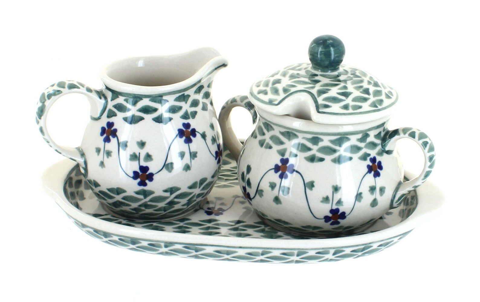 Blue Rose Polish Pottery Sage Floral Sugar & Creamer with Tray