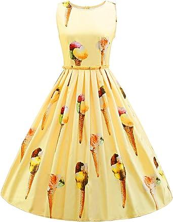 iBaste Moda Mujer Retro Vestidos de Raso Impresión Tridimensional ...