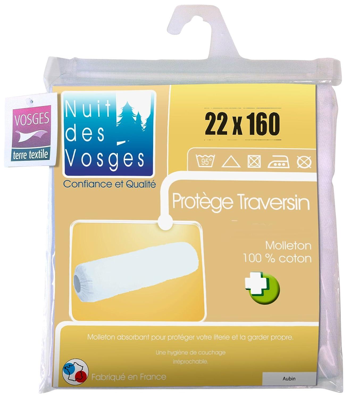 Nuit des Vosges 2072839 Aubin Sous-Taie Ouverte Elastiquee de Traversin Absorbante Molleton//Coton Blanc 22 x 160 cm