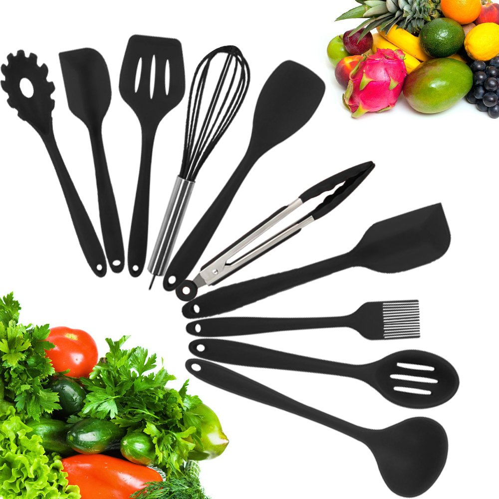 10 Piece Silicone Kitchen Utensil Set by Kuger, Nonstick & Heavy Duty Silicone Cooking Utensil Set(Black)