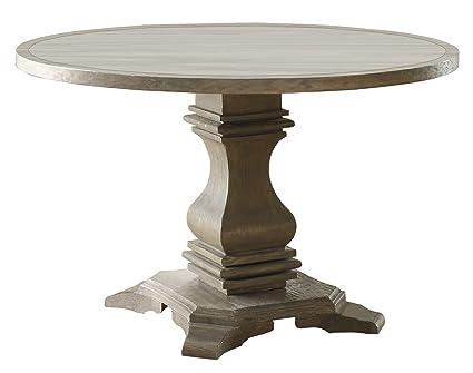 Amazoncom Homelegance Euro Casual Round Dining Table Gray - Round pedestal dining table gray