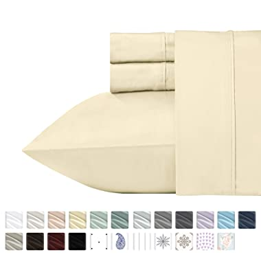 400 Thread Count 100% Cotton Sheet Set on Amazon, Vanilla Yellow Queen , 4-Pc Long-staple Combed Natural Best Cotton Bed Sheets Soft Silky Sateen Sheets Fits Mattress Upto 18'' Deep Pocket