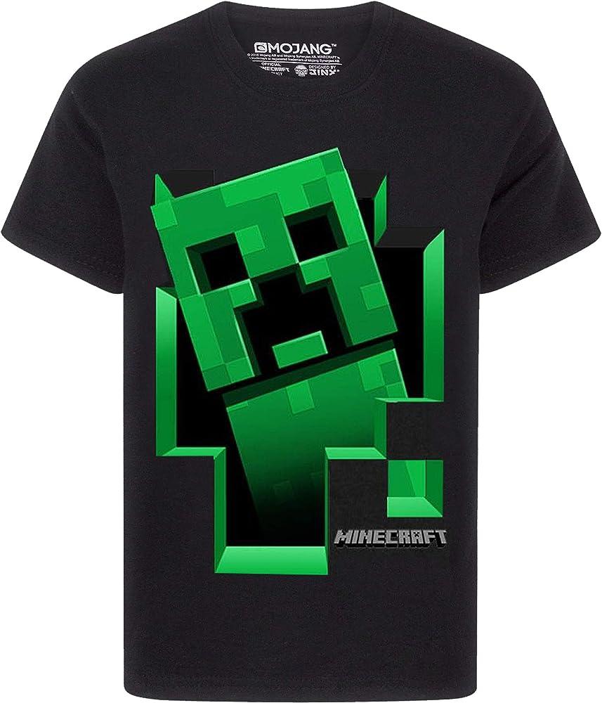 Minecraft Creeper Inside - Camiseta de manga corta para niño, color negro - Negro - 5-6 años: Amazon.es: Ropa y accesorios