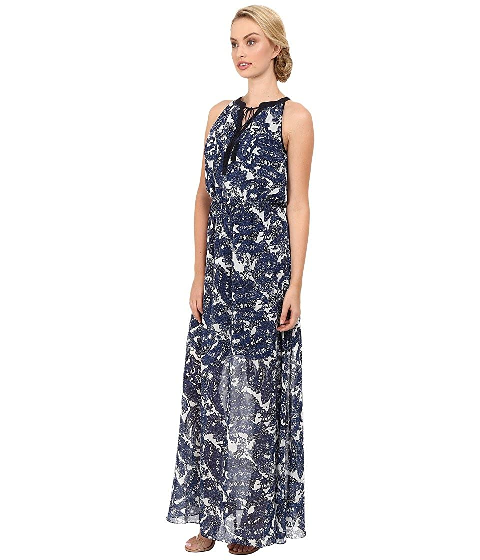 34ef7a5cffc Vince Camuto Women s Printed Chiffon Maxi Halter with Keyhole and Tassels  Blue Dress 14 at Amazon Women s Clothing store