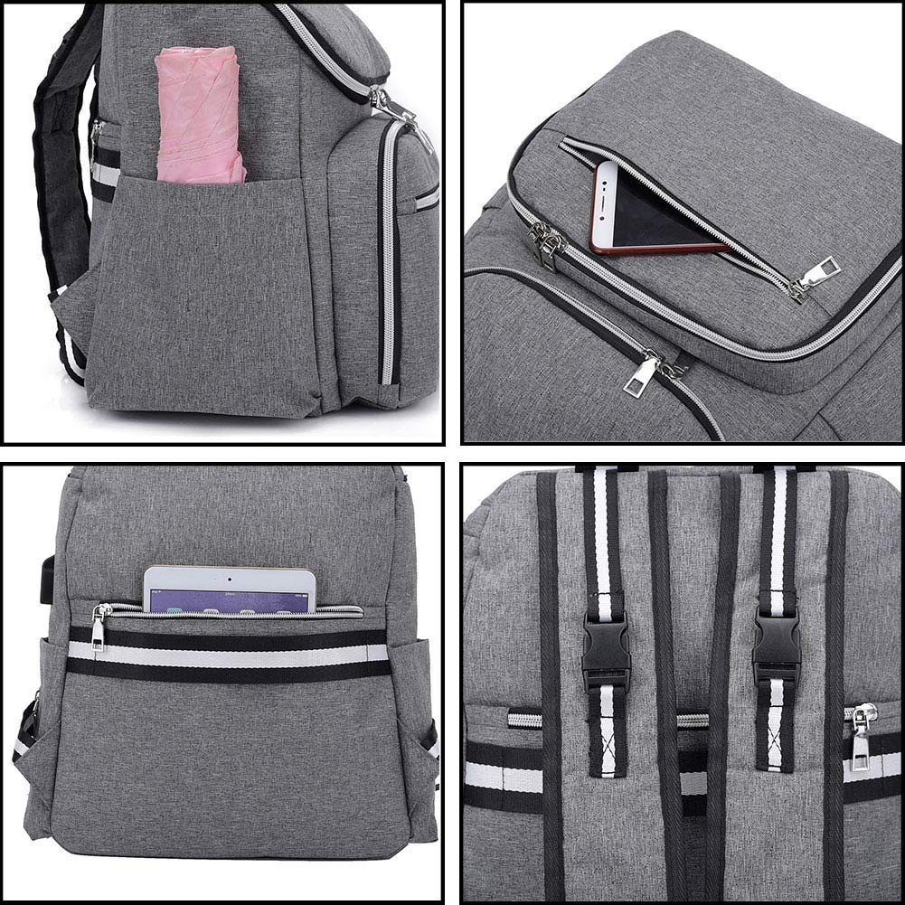 Baby Nappy Bag Backpack Diaper Bags Large Capacity Travel Maternity Bag,Stroller Organizer Straps Attached,with USB Port,Waterproof Grey