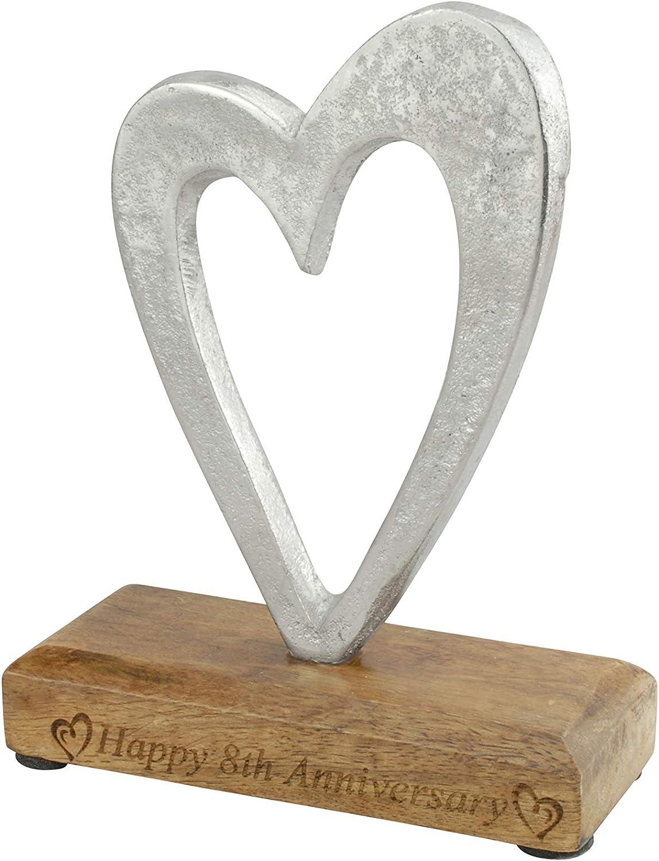 8th Anniversary Rustic Metal Heart Decoration – Free Standing Aluminium & Wooden Decoration (hssanni-8)