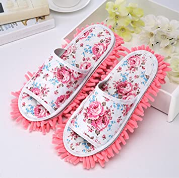 a7217eb35ef Selric  Printing Flower  Women s Comfort Slippers Indoor House Mop Slippers
