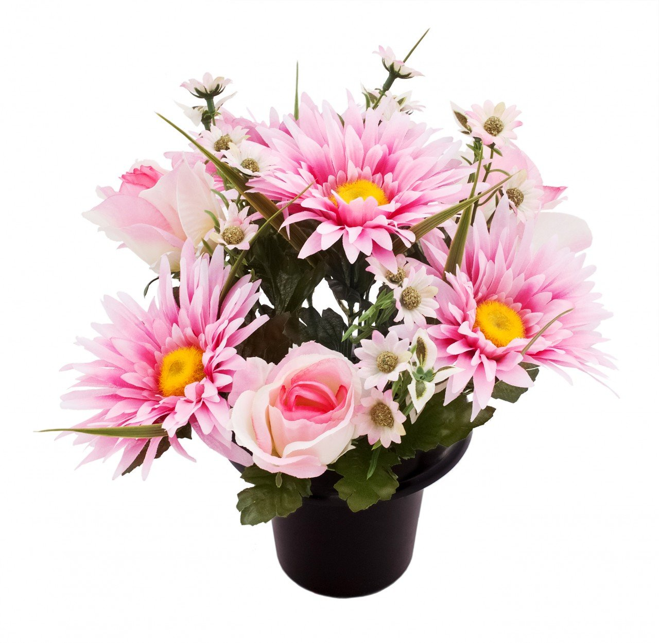 ARTIFICIAL PINK ROSE GERBERA AND DAISY GRAVE VASE INSERT POT MEMORIAL