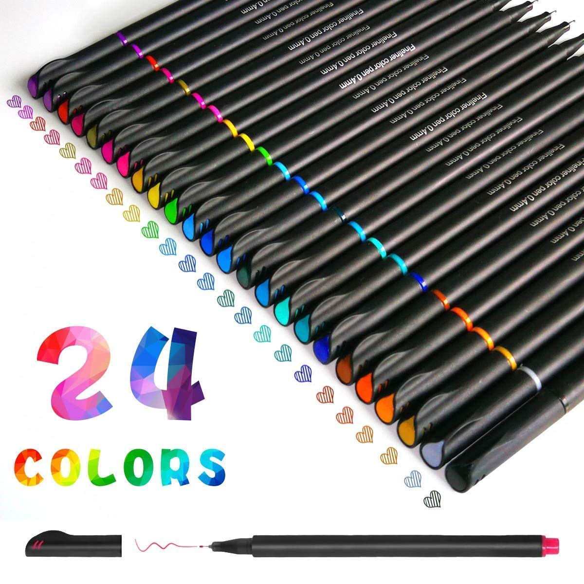 Fineliners Pens,Tukcherry Fineliner Color Pen Set Sketch Writing Drawing Pens for Bullet Journal Note Taking and Coloring Books (12)