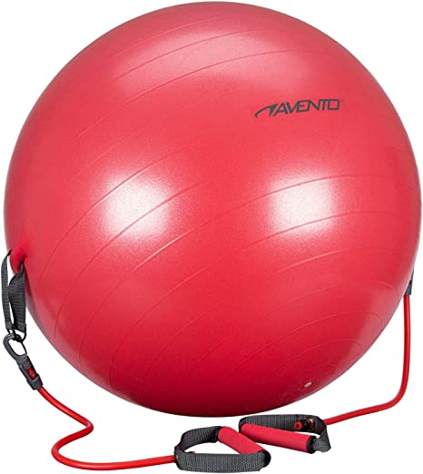 Avento Pelota Fitness con Correas Resistencia 65cm Roja Accesorios ...