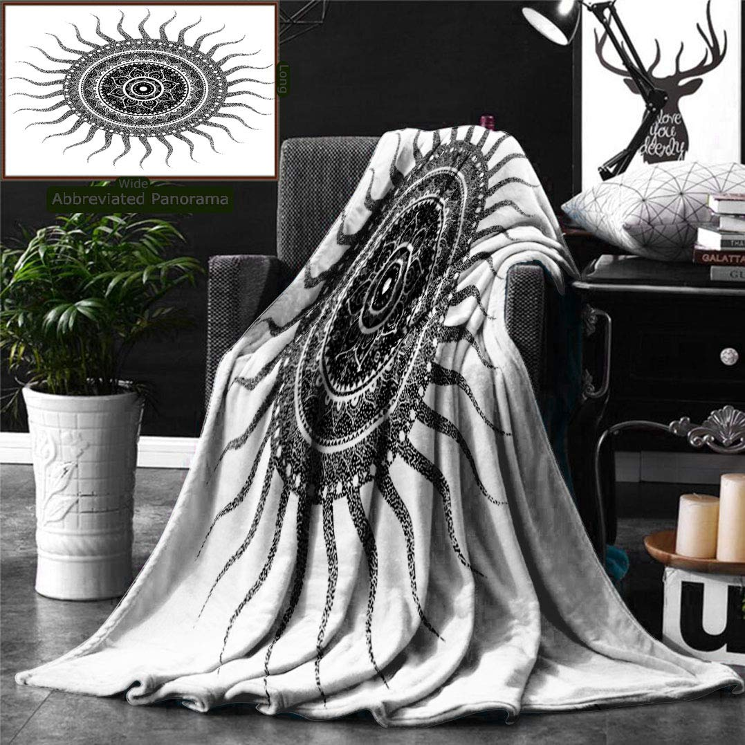 Ralahome Unique Custom Double Sides Print Flannel Blankets Mandala Decor Classic India Style Sun Beams Like Oriental Figures Decorative P Super Soft Blanketry Bed Couch, Throw Blanket 60 x 50 Inches by Ralahome (Image #1)