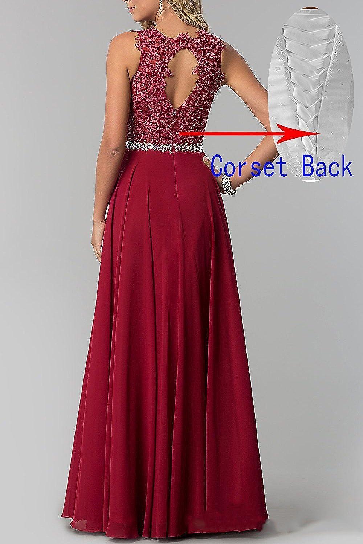 bfe917ec368 CLLA dress Damen Chiffon Spitze Abendkleider Elegant Brautkleid Lang  Festkleid Ballkleider  Amazon.de  Bekleidung