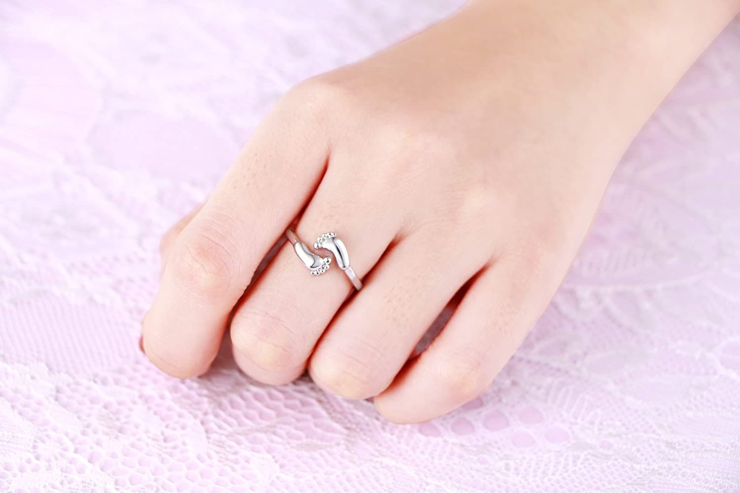 Amazon.com: LINLIN FINE JEWELRY Baby Feet Ring 925 Sterling Silver ...