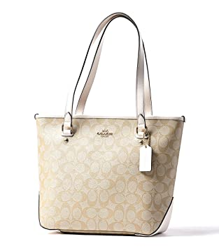 Amazon.com  Coach Signature PVC Zip Top Tote F58294 Light Khaki ... 455099ce5b74b