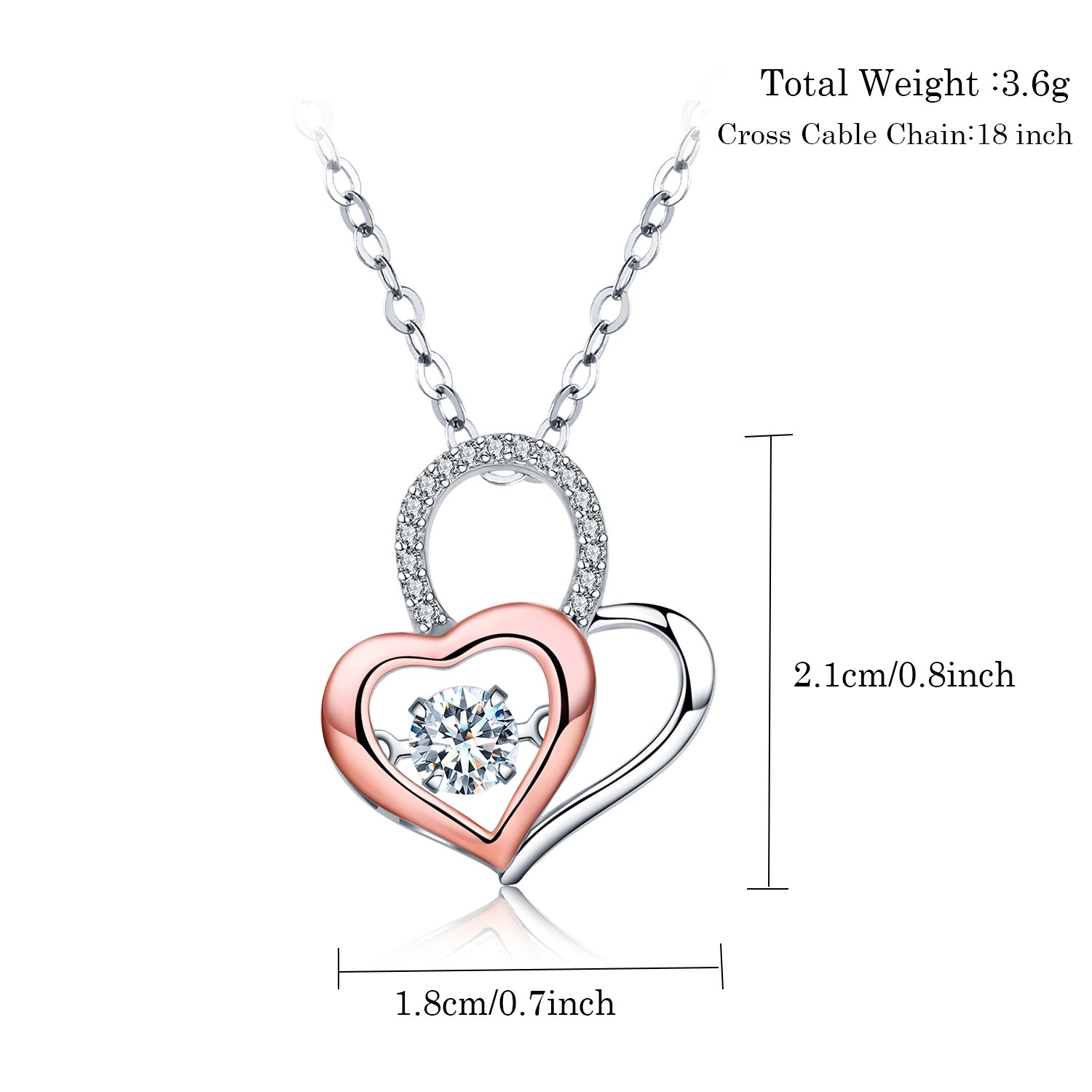 140d6d9e70 Amazon.com: Emma Manor Sephla 14k White Gold Plated You are in My Heart  Forever Lover Heart Pendant Necklace for Women (Rose Gold Plated): Jewelry