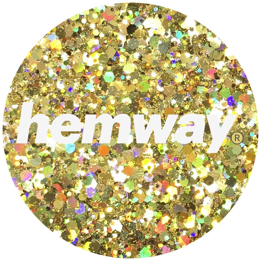 Hemway Gold Holographic Mix Glitter Chunky Multi Purpose Dust Powder Arts & Crafts Wine Glass Decoration Weddings Flowers Cosmetic Face Eye Body Nails Skin Hair Festival 100g by Hemway (Image #3)
