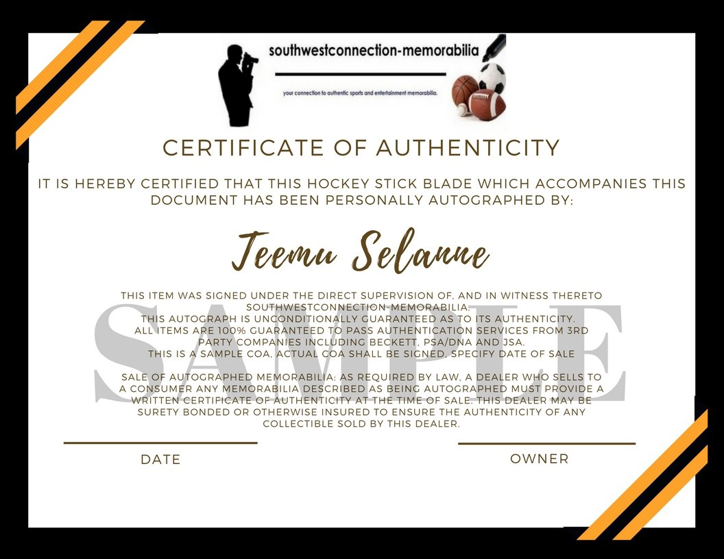 Anaheim Ducks Teemu Selanne Autographed Hand Signed Logo Ice Hockey Stick Blade with Proof Photo of Signing and COA