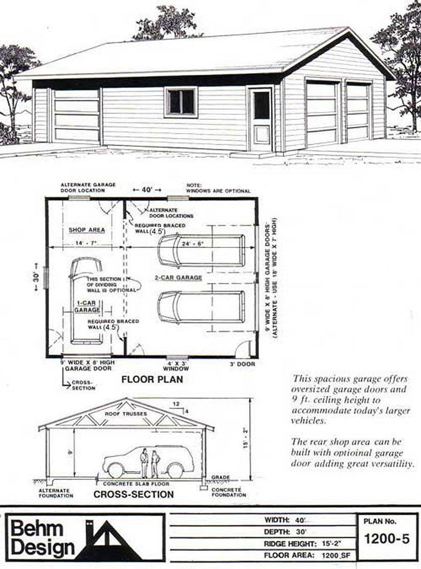 Garage Plans Oversized Geble Entry Two Car Garage With Rear Shop – 30 X 40 Garage Plans With Loft