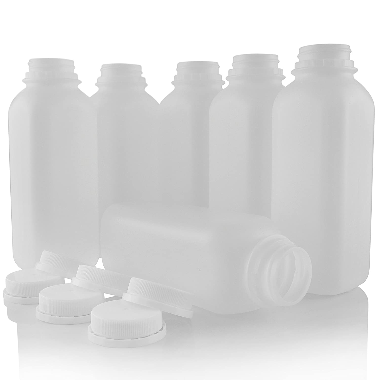 プラスチックジューススムージー牛乳瓶with不正開封防止キャップ空16 ozセットof 6 by Pinnacle Mercantile B01MYZSXXL