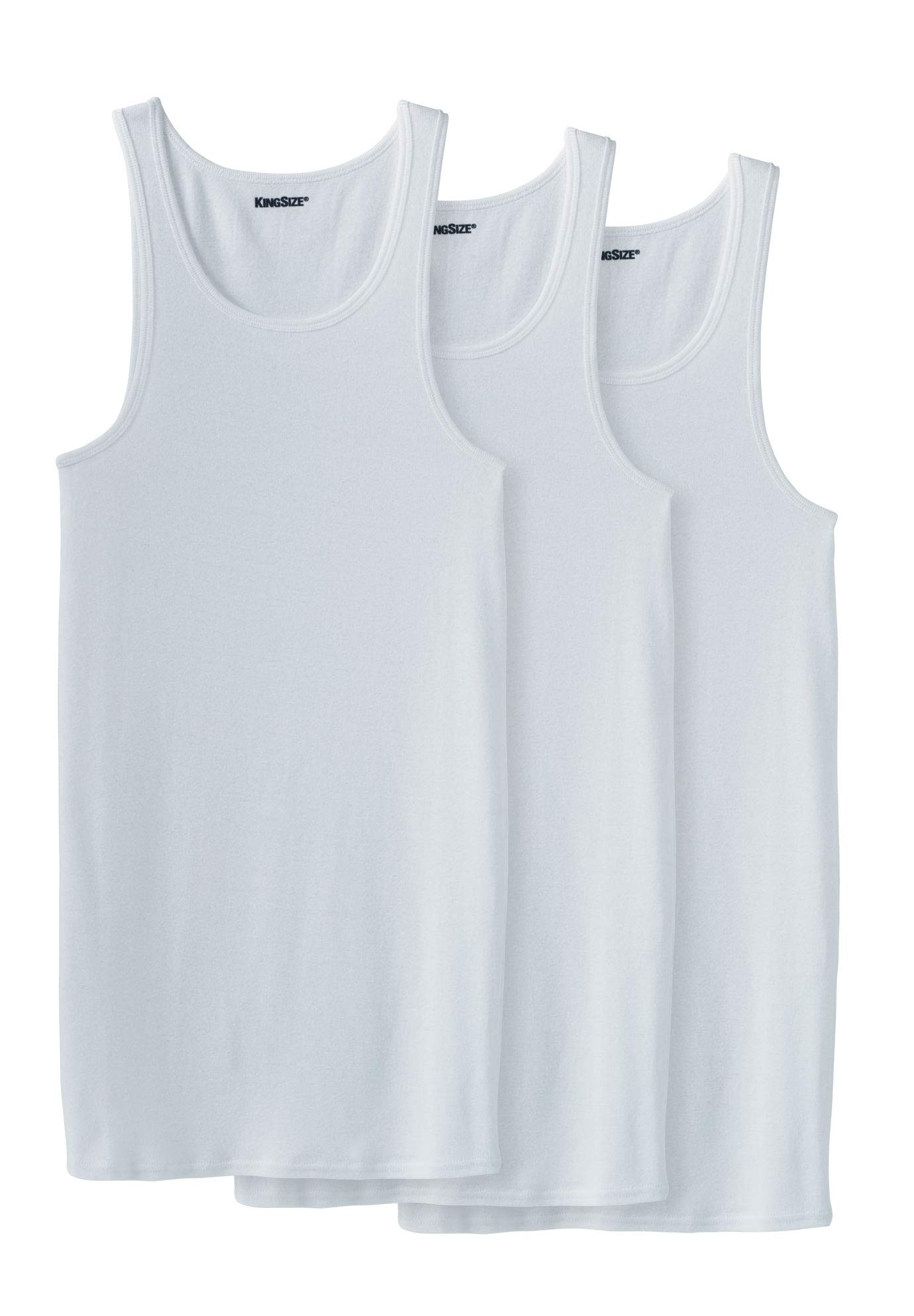 KingSize Men's Big & Tall Cotton Tank Undershirt 3-Pack, White Tall-4XL by KingSize