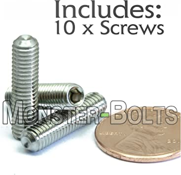 Hex Socket Set Screws Full Thread 5//16-18 X 5//8 Cup Point 18-8 AISI 304 Stainless Steel 25 pcs