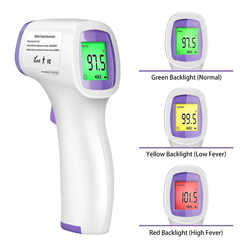 Termometro digitale a infrarossi senza contatto IR con funzione di allarme febbre e memoria per bambini e adulti viola