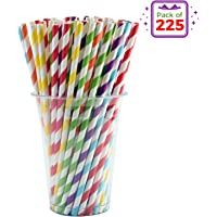 Vandore 225pcs of Striped Biodegradable Paper Straws in a Bulk Pack - 6 Rainbow Colors - Paper Drinking Straws for Birthday Parties and Decorations