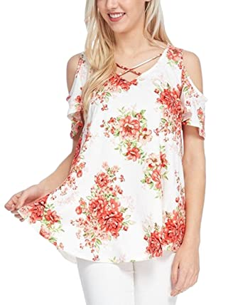 6c9efb43a3e5bd Auxo Women Floral Top Cross V Neck Cold Shoulder Short Sleeve Summer Casual  Tunic Swing T-Shirt Blouse Size S UK 8  Amazon.co.uk  Clothing