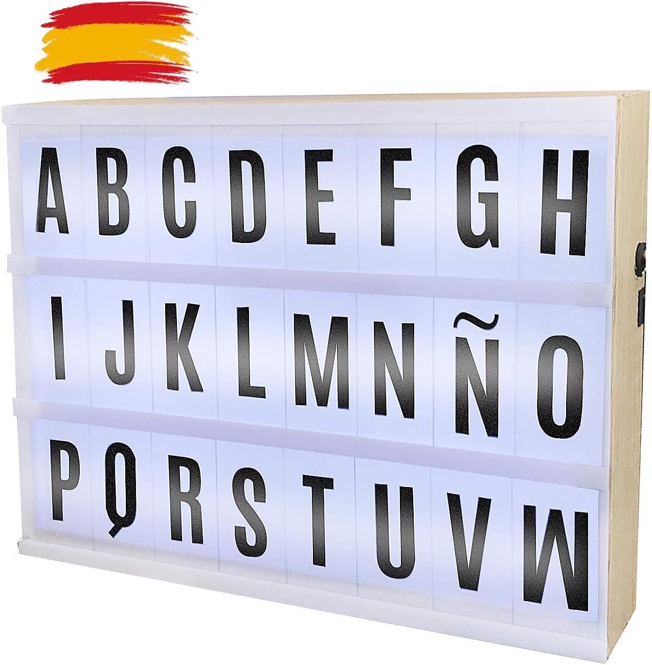 Caja de Luz LED A4 con 85 Letras, Numeros y Simbolos, Lightbox 29 x 22cm: Amazon.es: Bricolaje y herramientas