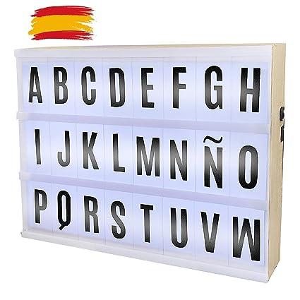 Caja Madera De Luz Led A4 85 Cartas Con Letras Numeros Y