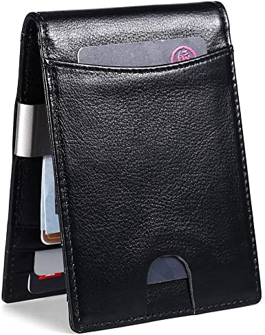 Real Leather ID Card Coin Holder Purse Bifold Money Clip Wallet Gift Mens Black