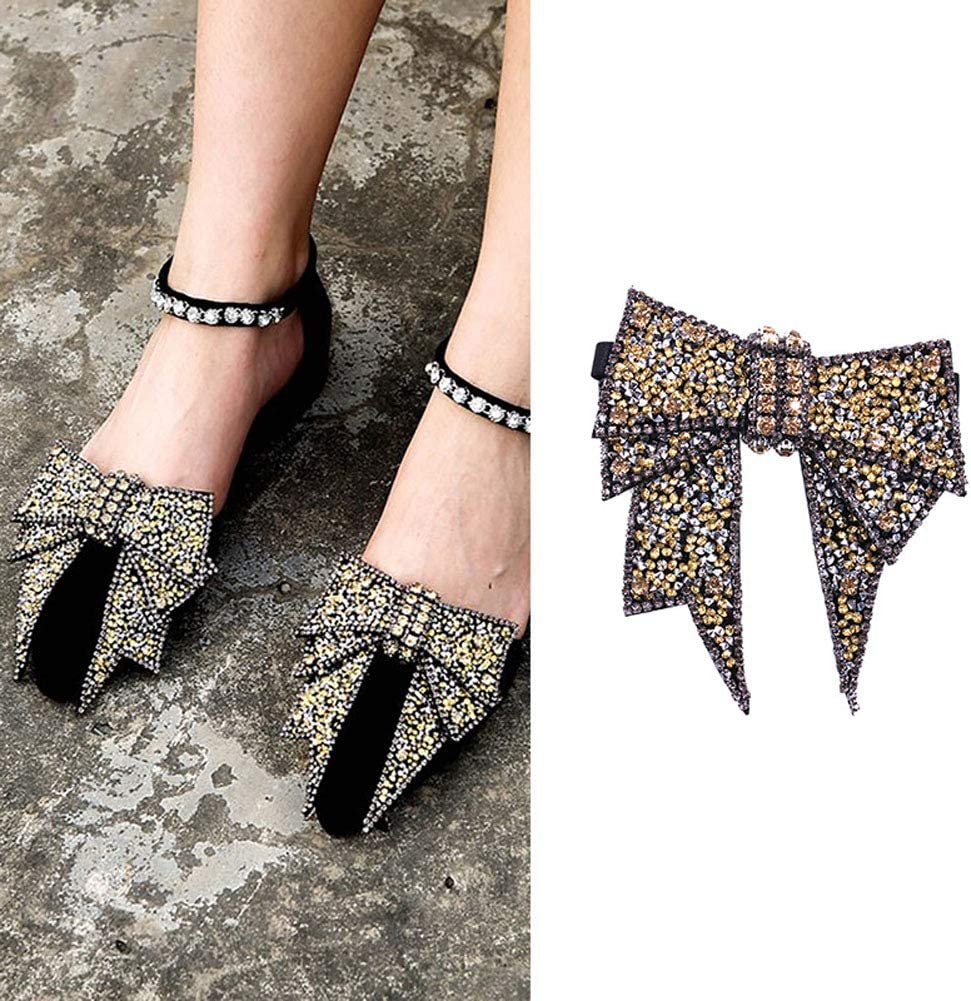 Suoirblss 2PCS DIY Handmade Rhinestone Bow Butterfly Shoe Straps Band Shoe Flower Accessories Shoes Decoration Charms Flats High Heels/Pumps Holder Shoe Decor for Lady Women (Style B#)