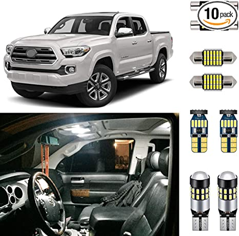 11 x Green LED Interior Lights Package For 2016-2018 Toyota Tacoma PRY TOOL