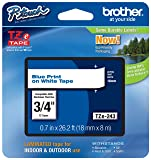 "Genuine Brother 3/4"" (18mm) Blue on White TZe P-touch Tape for Brother PT-D400, PTD400 Label Maker"