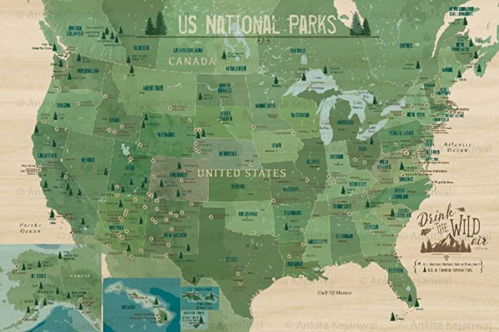 Amazon.com: US National Parks, Printed of Maple Wood, 24X36 ...