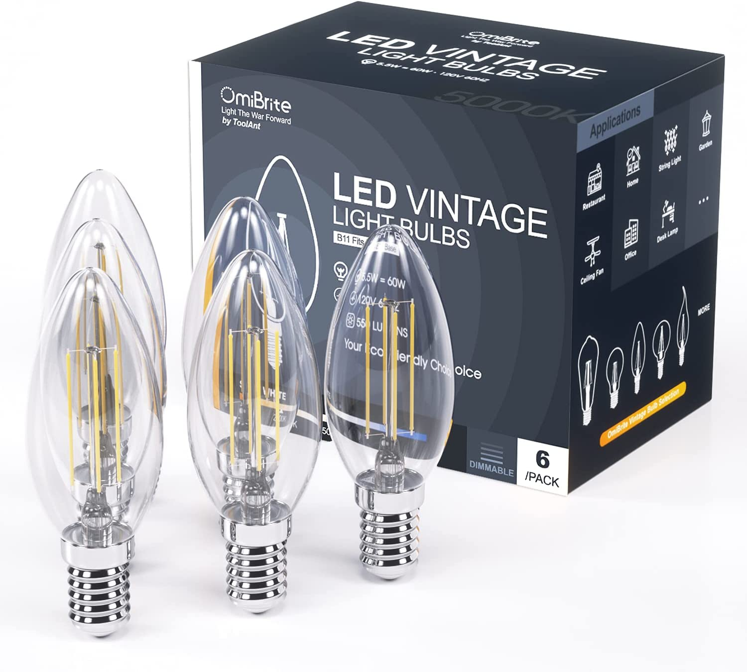 OmiBrite LED Edison Bulb Dimmable 5.5W Vintage Light Bulb 60W Equivalent 5000K Daylight White 550 Lumen B11 E12 Base Decorative Clear Glass for Bathroom Kitchen Dining Room, UL-Listed, 6/Pack