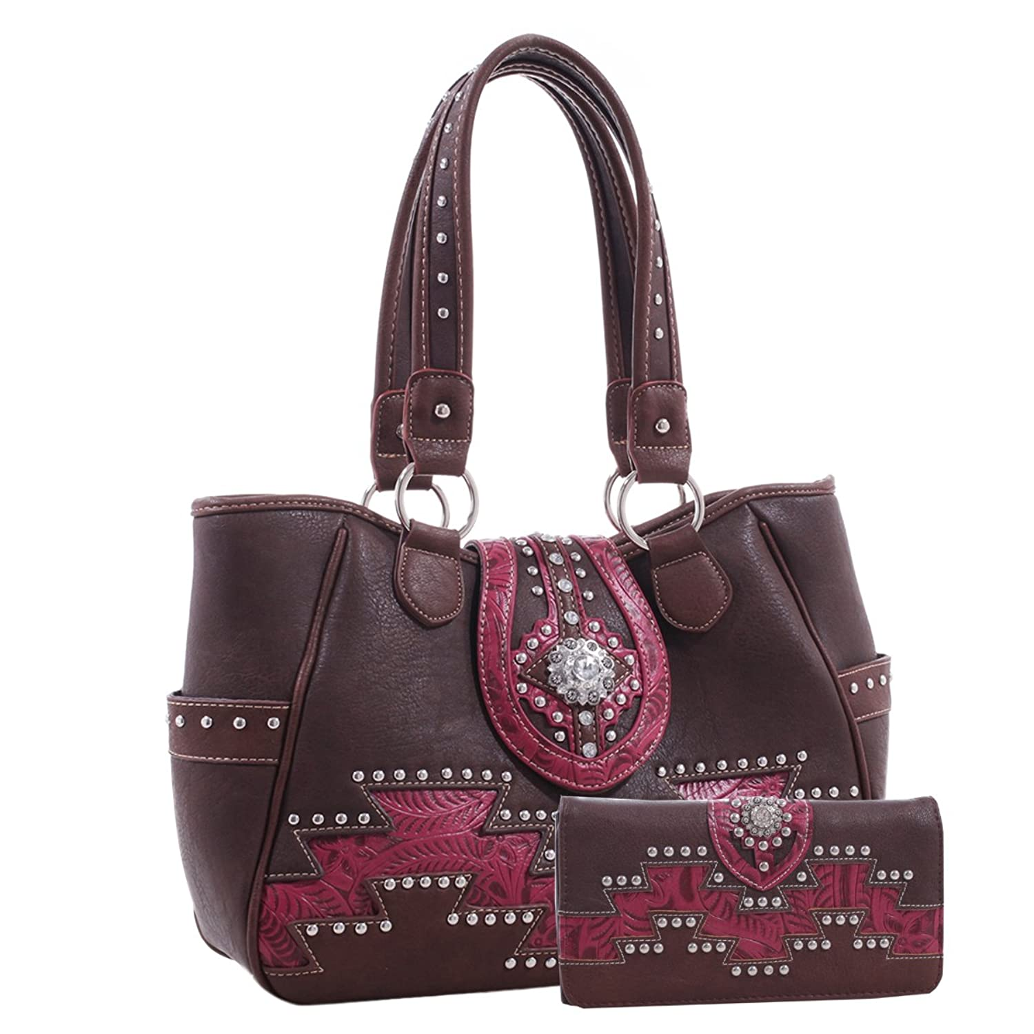 Western Style Tote with Concho and Aztec Pattern and Matching Wallet