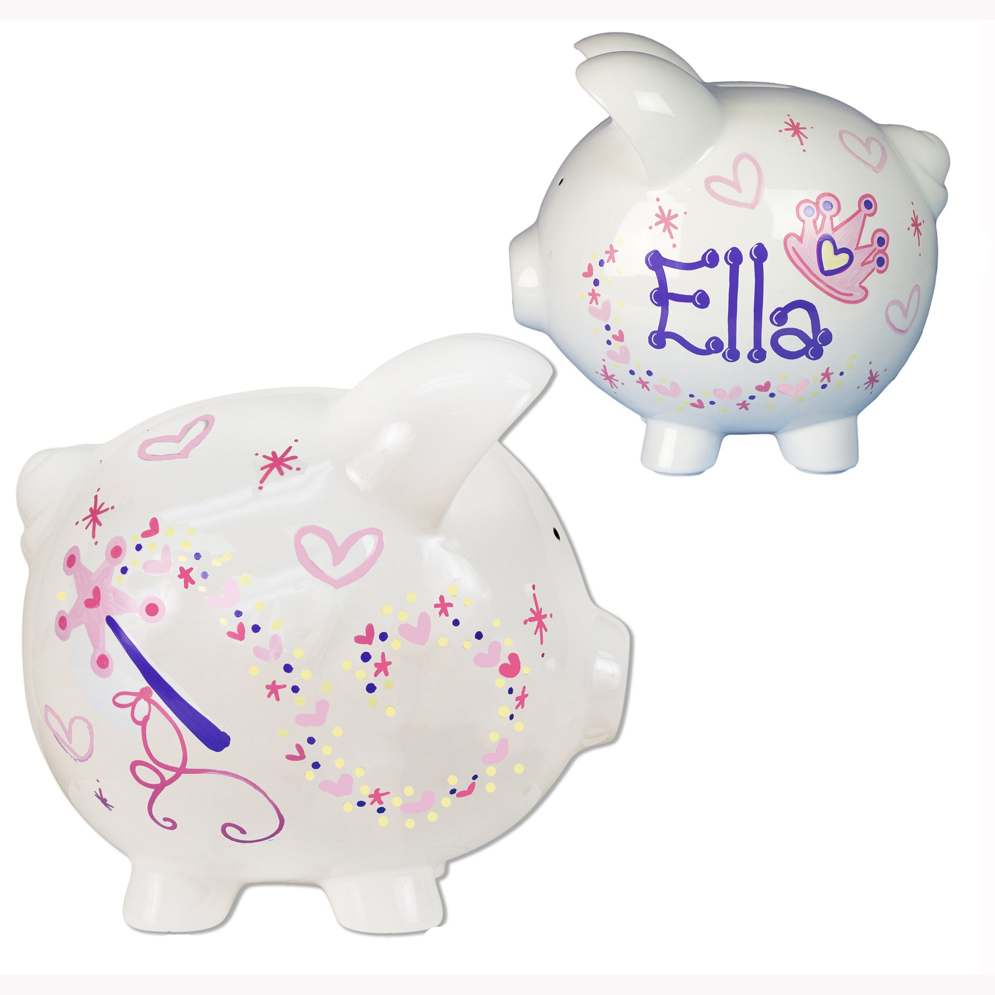 Girl's Personalized Princess Piggy Bank for Girls Hand Painted Large White Piggybank Pink Purple Princess Crown