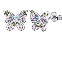 Butterfly Earrings for Little Girls Kids Women Hypoallergenic Crystal Stud Earrings with Safety Back