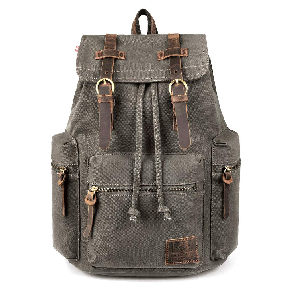VDSL-AUGUR SERIES Vintage Canvas Leather Backpack Hiking Daypacks Computers  Laptop Backpacks Unisex Casual Rucksack Satchel Bookbag Mountaineering Bag  for ... e1edbccece4