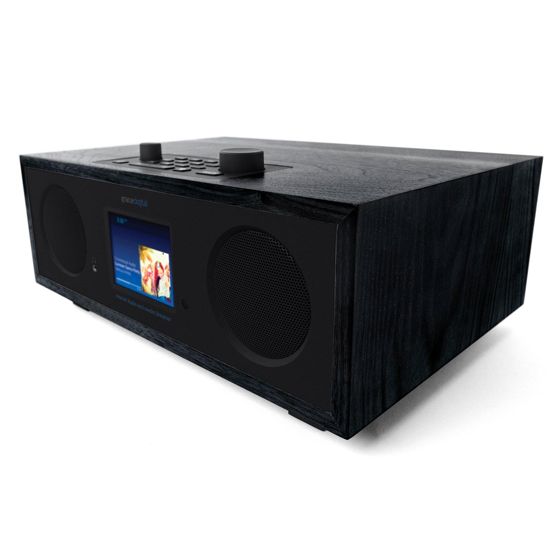 Grace Digital Encore+ Wireless Stereo Smart Speaker & Internet Radio with Wi-Fi + Bluetooth & 3.5'' Color Display Black (GDI-WHA7501)