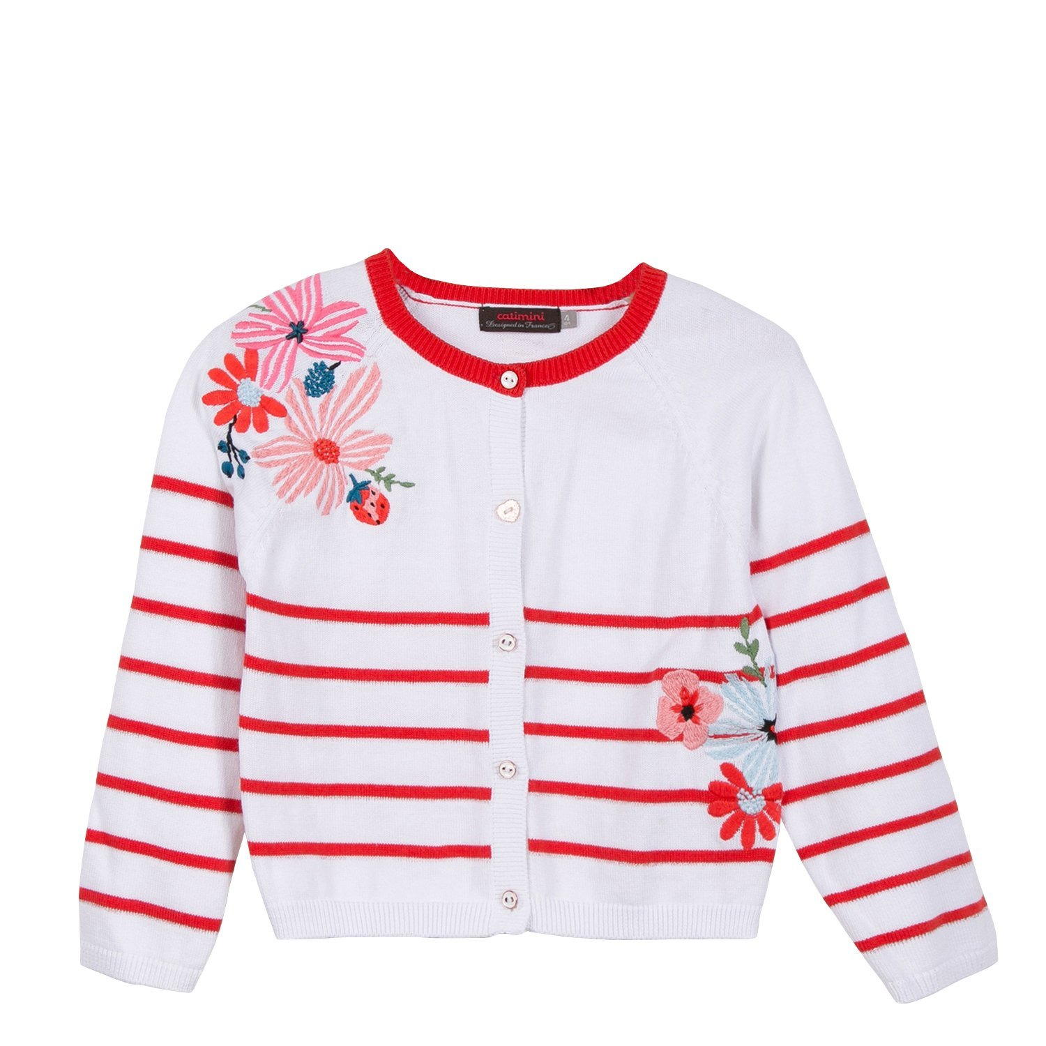 Catimini Stripy Knitted Cardigan With Embroidery