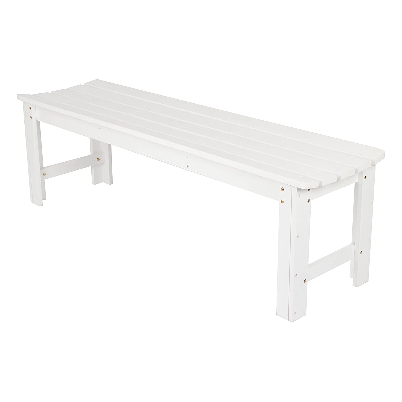 Shine Company Backless Garden Bench, 5-Feet, White 4205WT