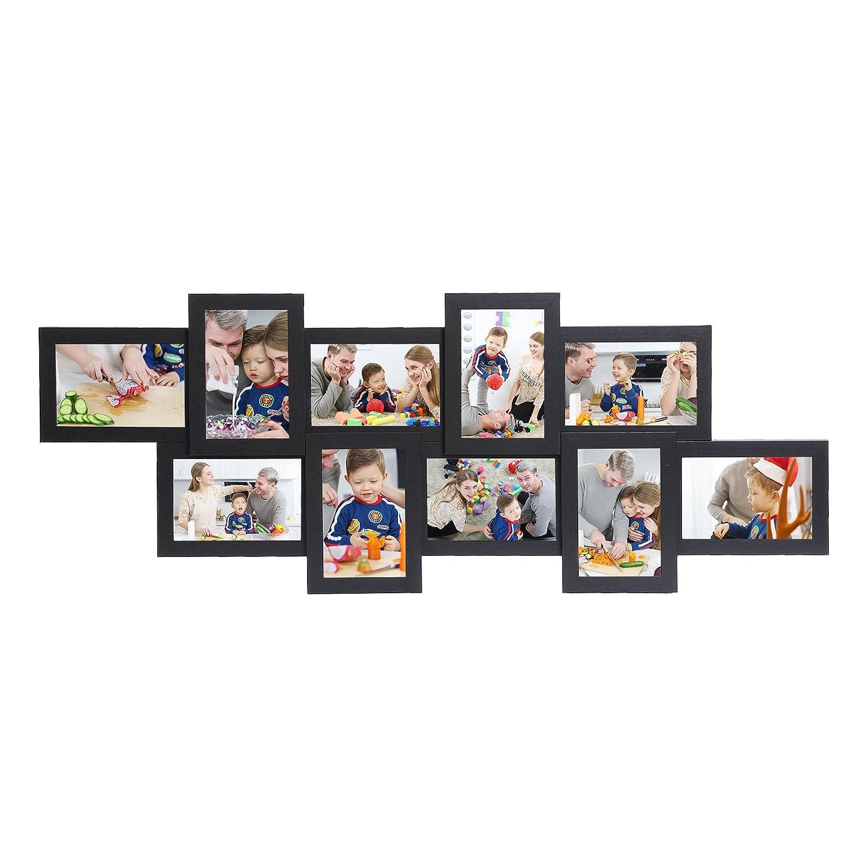 SONGMICS Cornice Multipla per 10 Foto Portafoto da Parete Foto 87 x 34 cm Wall Decor in Fiberboard Bianco RPF21W