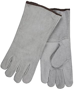 Seguridad MCR 4150bxxl 13-inch Split Cuero de Vaca economía grado soldador guantes para hombre con marrón algodón con puño, Gris, 2 x -Large: Amazon.es: ...