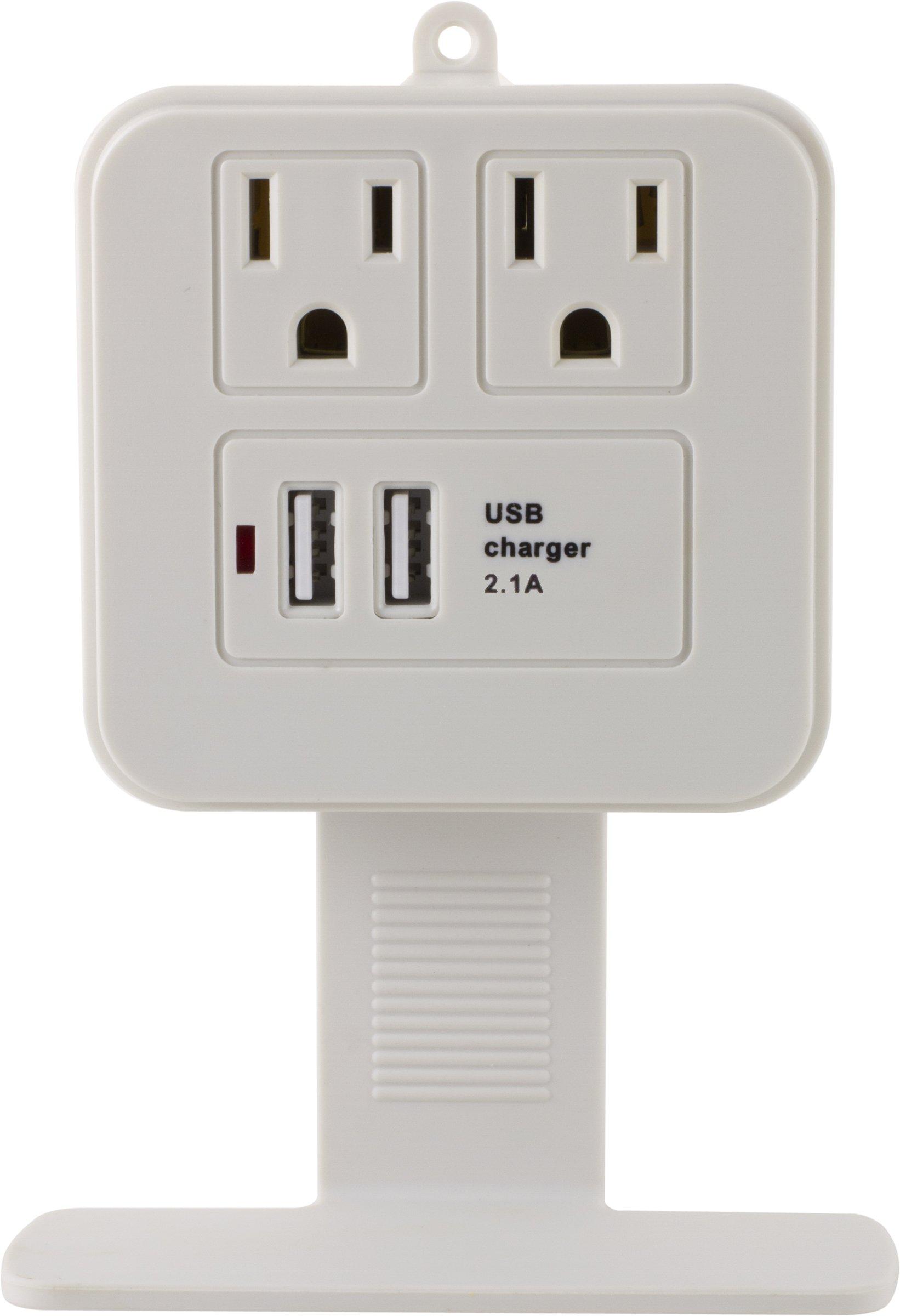 GE 14627 Surge Tap, 2 Outlets, 245J, USB, 2 Ports, 2.1A, Shelf, White, French/English