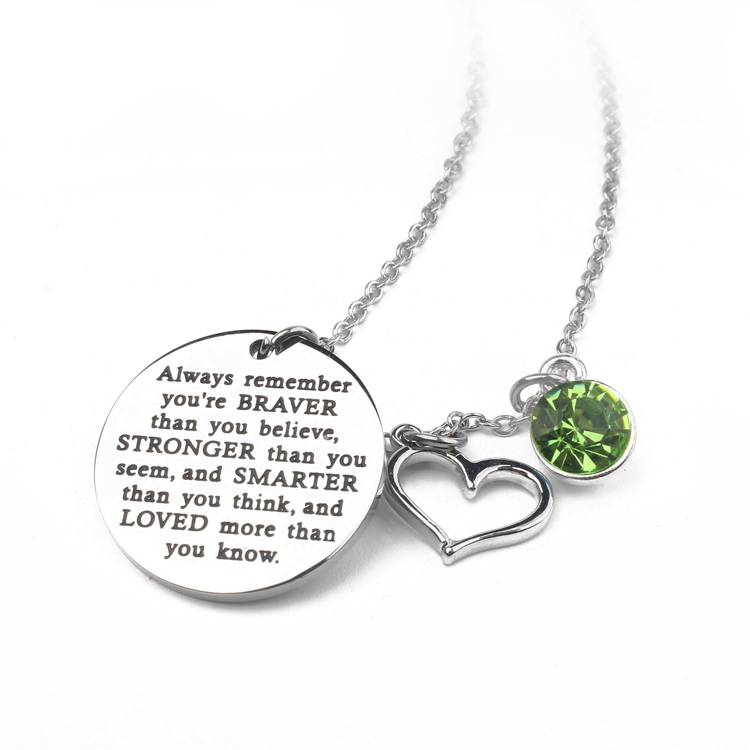 Zaoming You Are Braver Than You Believe Inspirational Necklace With Birthstone Graduation Gift Best Friend Encouragement Gifts Birthday Gift (08-August Peridot)