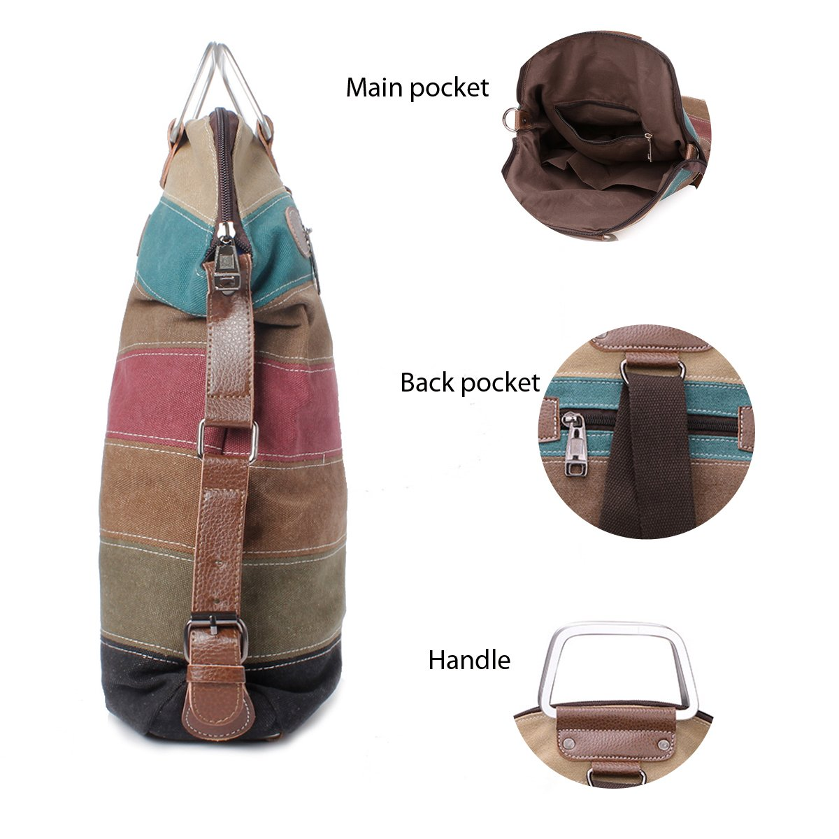 Amazon.com | La Desire Multi-Function Convertible Canvas Shoulder Bag Crossbody Sling Bag Messenger Bag Backpack Handbag for Women (Retro) | Backpacks
